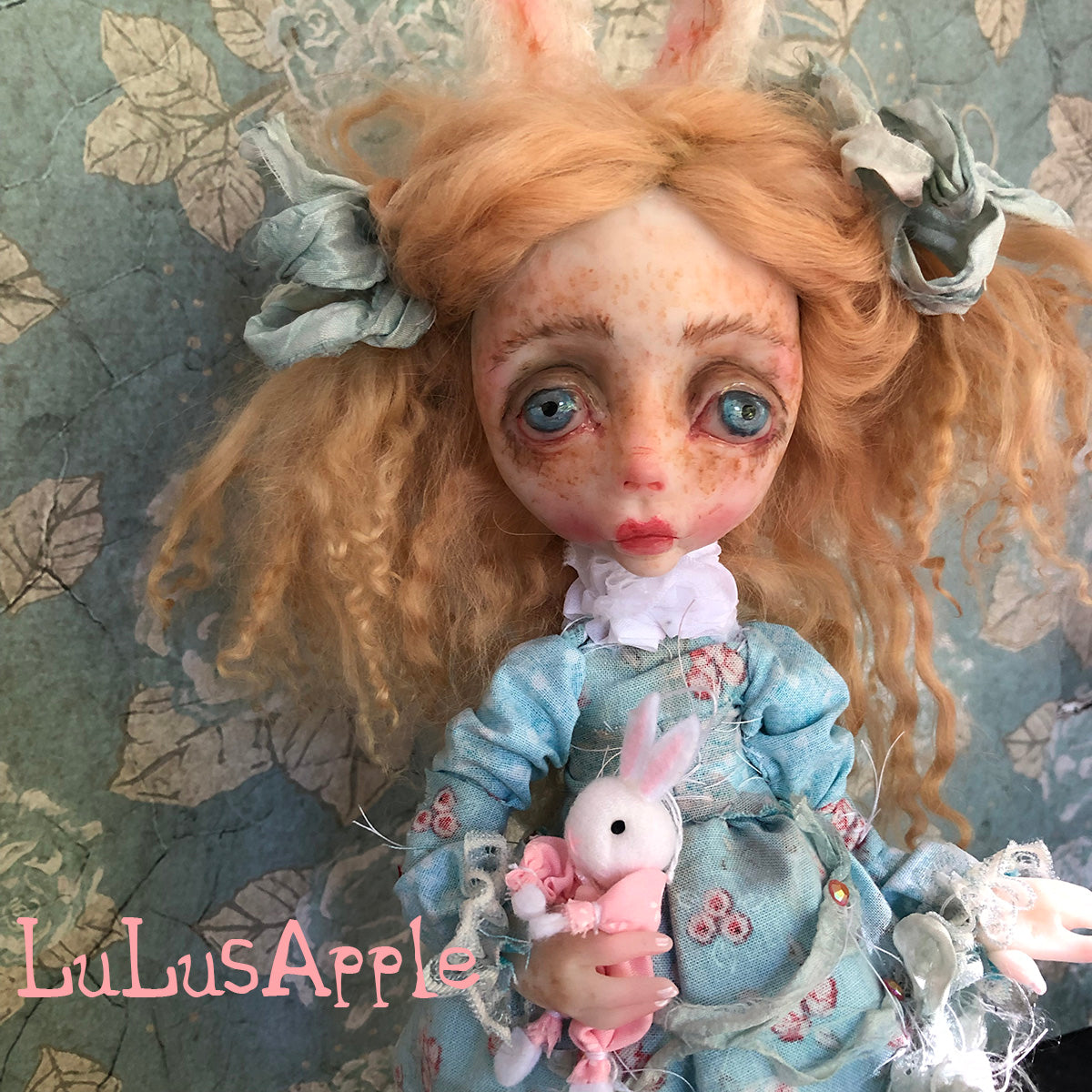 Miss. Betty Butters the Bunny freckled springtime OOAK LuLusApple Art Doll