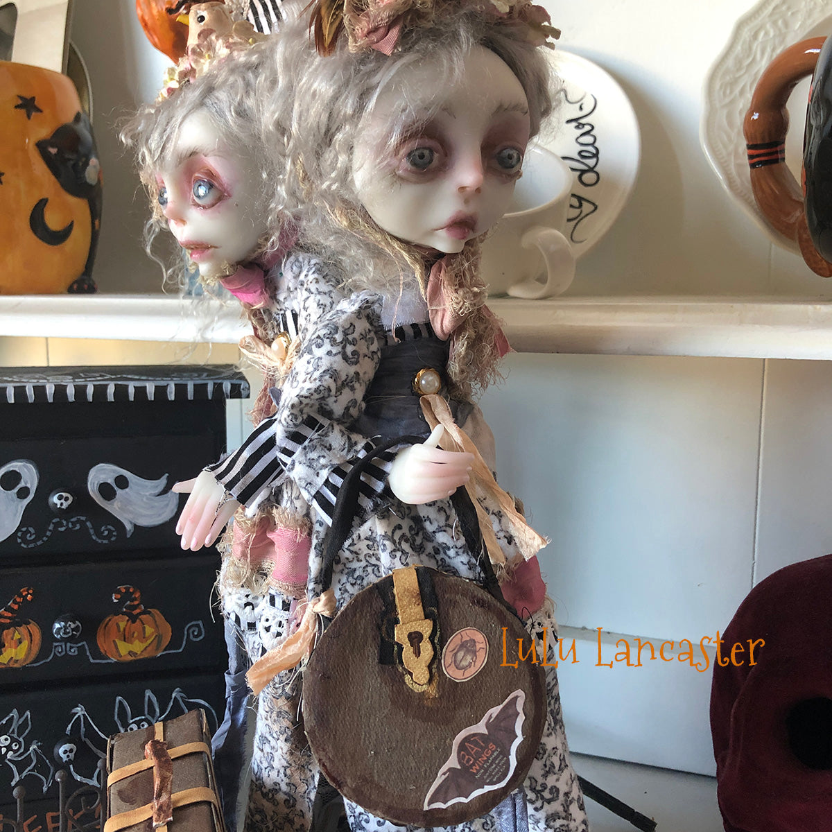 Luna and Rainn Conjoined Gothic Traveling twins OOAK Art Doll LuLusApple