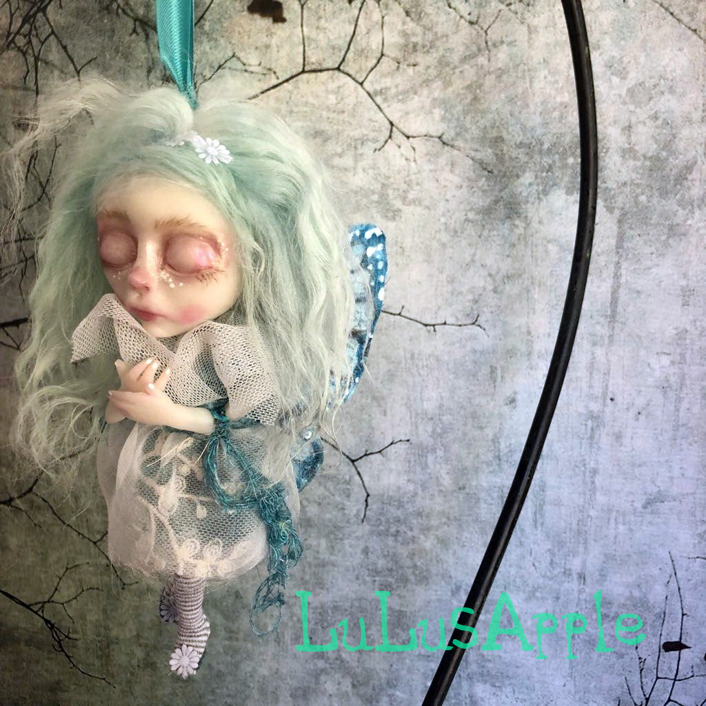 BlueBell Mini hanging Butterfly sleeping kids OOAK Art Doll LuLusApple