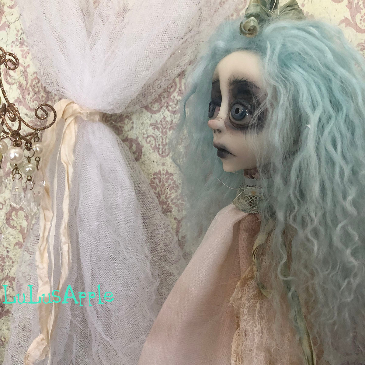 Decapitated Blue Head Ghostly ornament OOAK LuLusApple Art Doll