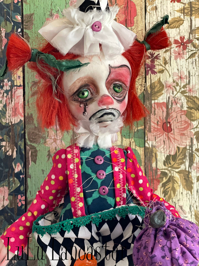 BoBo the Hobo Clown and minis Original Art Dolls by LuLu Lancaster