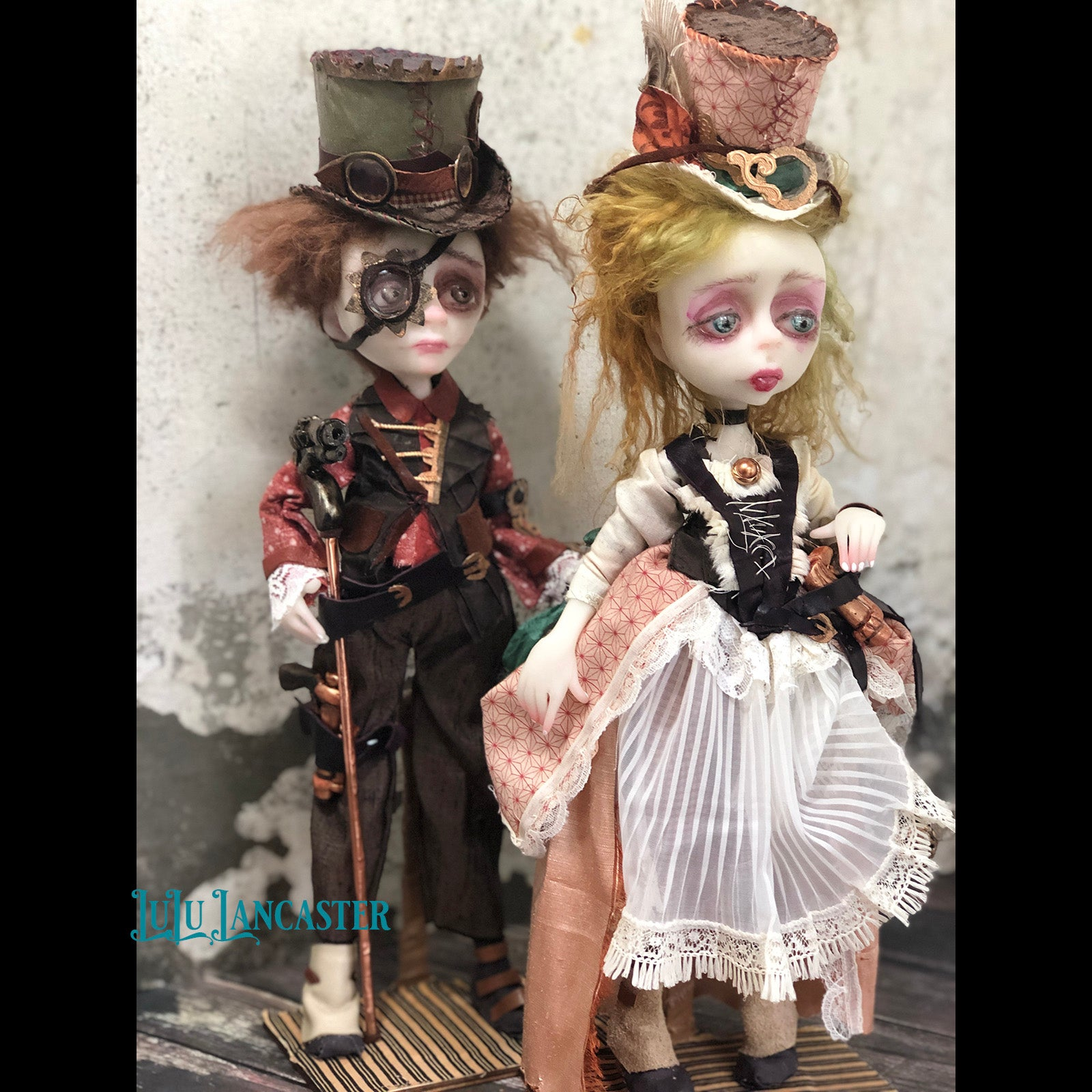 Bonnie and Clyde Western Victorian Steampunk couple OOAK Art Dolls LuLu Lancaster