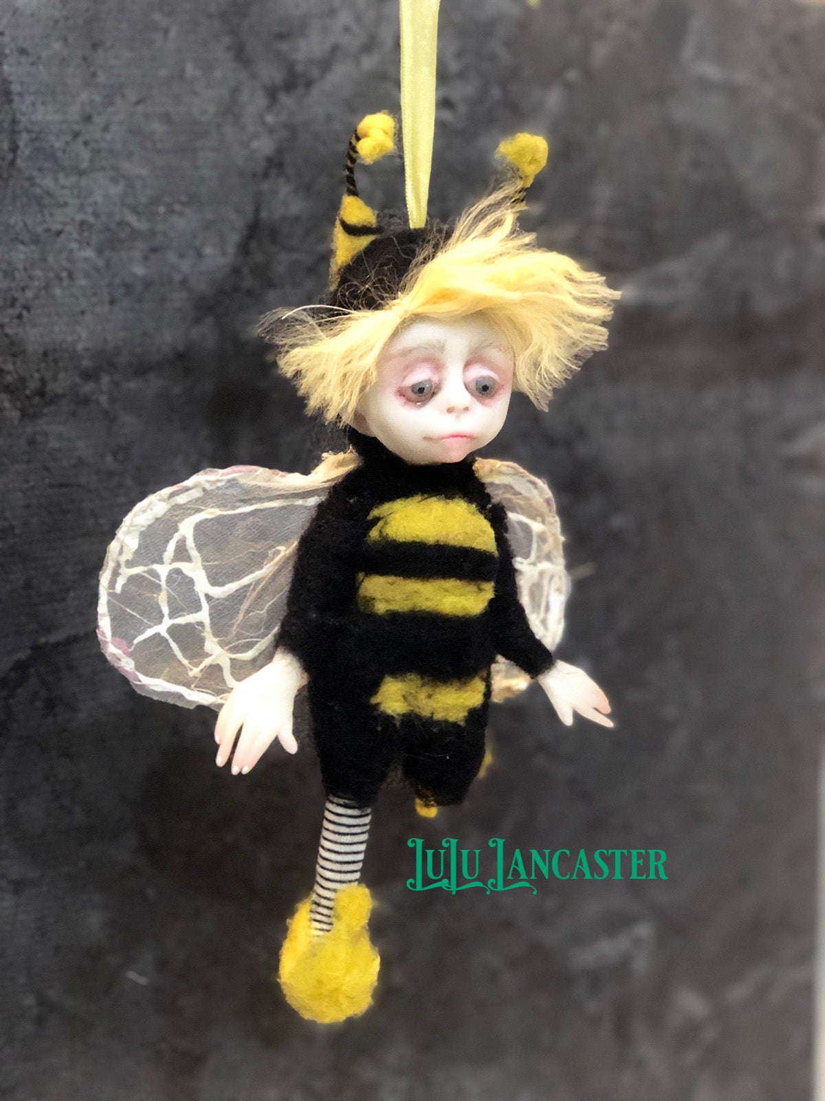 Buddy the Bee hanging OOAK Art Doll LuLu Lancaster