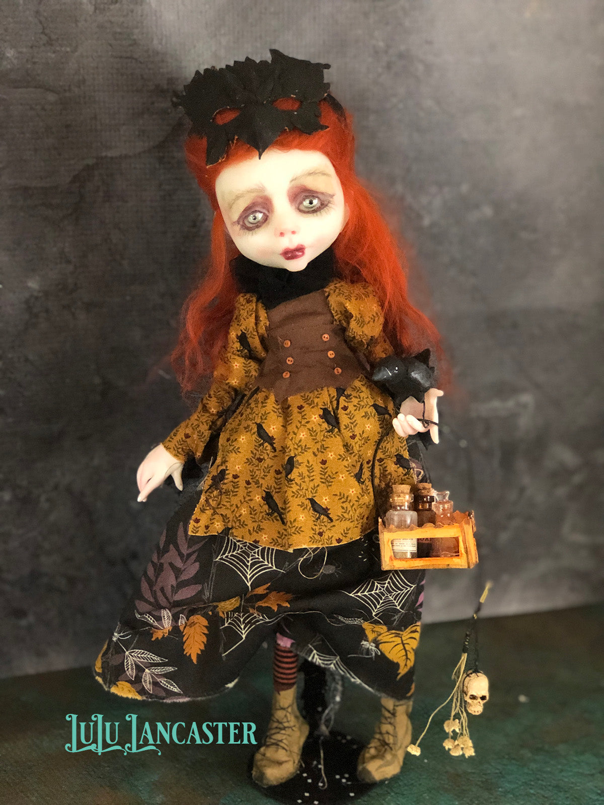 Caarwynn The Raven Witch Halloween Original Art Doll by LuLu Lancaster
