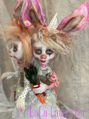 Callie and Amity the Calamity Twins Conjoined Bunny Clown Twins OOAK Art Dolls LuLu Lancaster