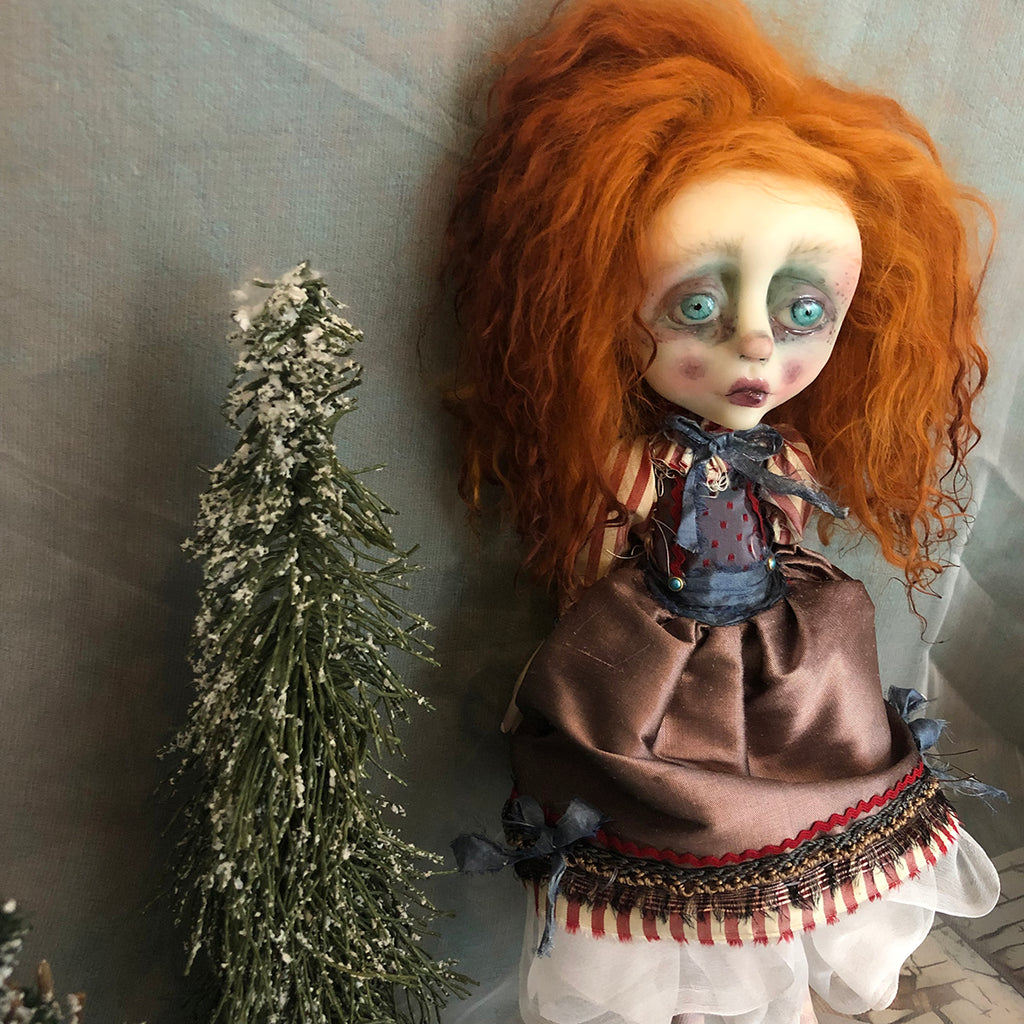 Carter shabby victorian style Winter OOAK Art Doll LuLusApple