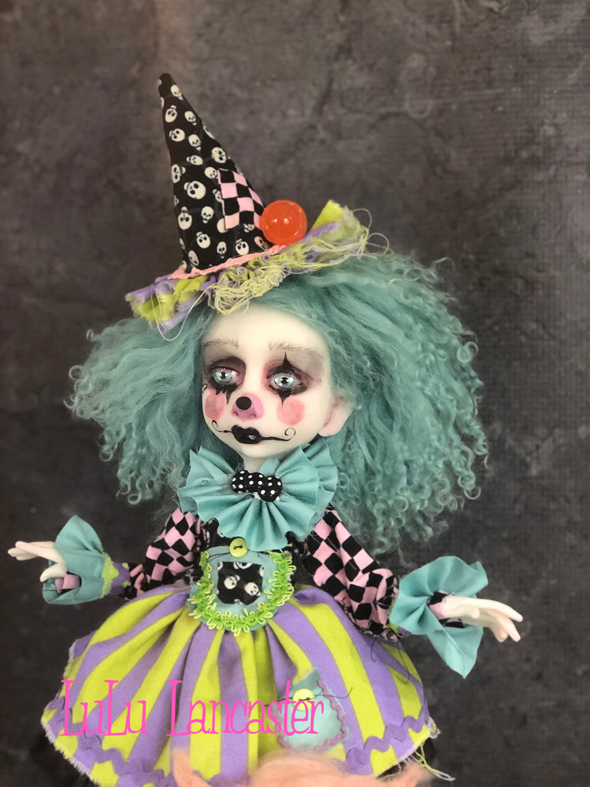 Checkers Poupee the clown and Cotton Candy Original sculpt Art Doll by LuLu Lancaster