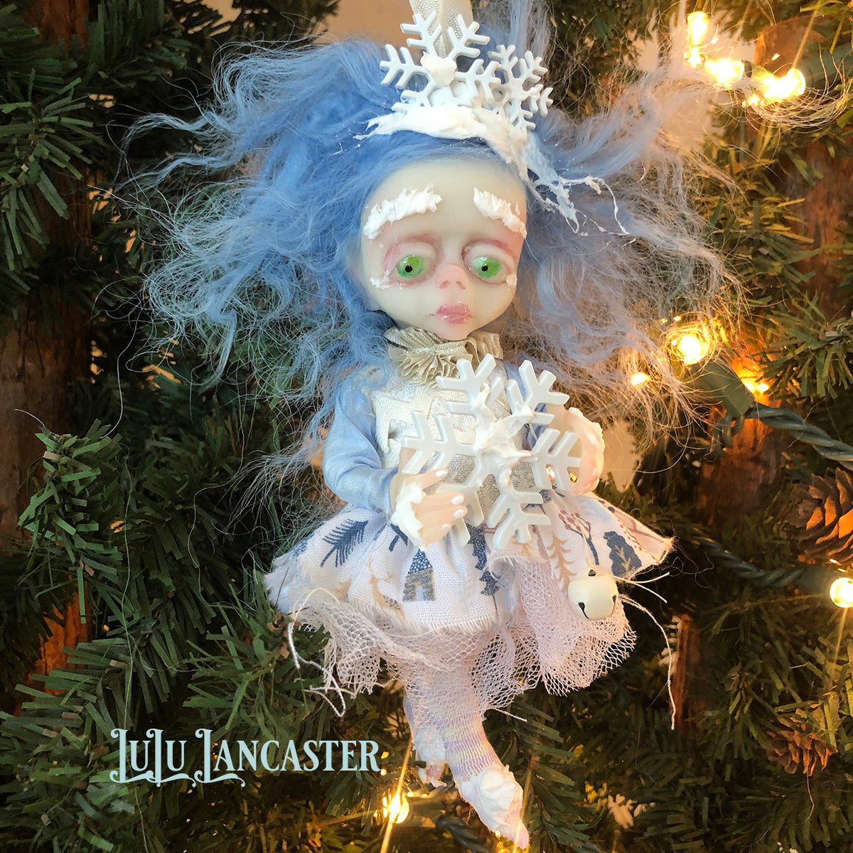 Chilly Mini hanging Frostie Ornament OOAK Art Doll LuLu Lancaster