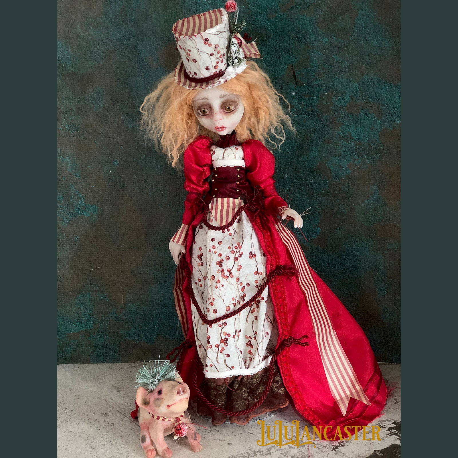 Robin and the Christmas Pig Victorian Winter OOAK Art Doll LuLu Lancaster