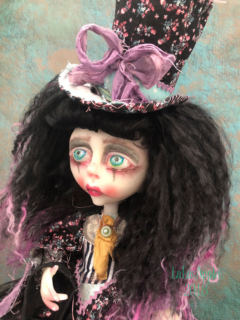 Claudine and Demon OOAK Gothic Lolita Sadness Art Doll