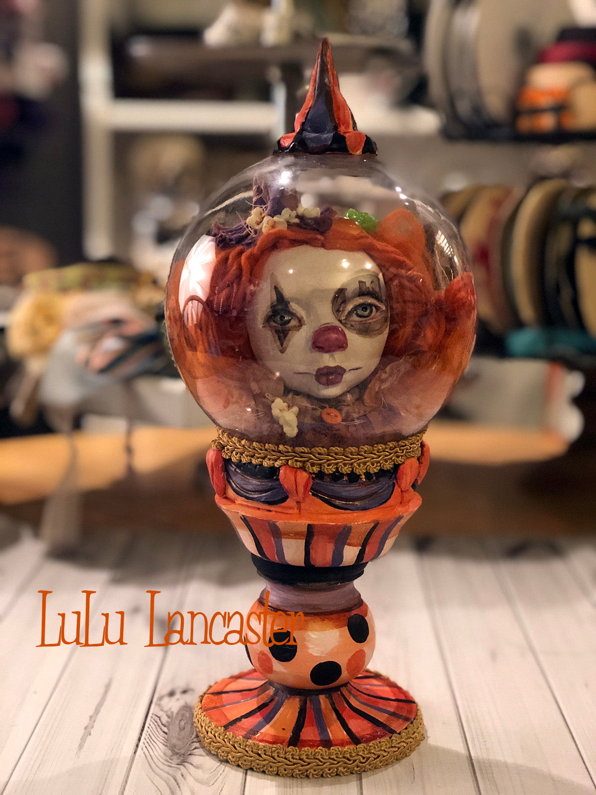 PipPoP Circus Clown Globe Original Art Doll by LuLu Lancaster