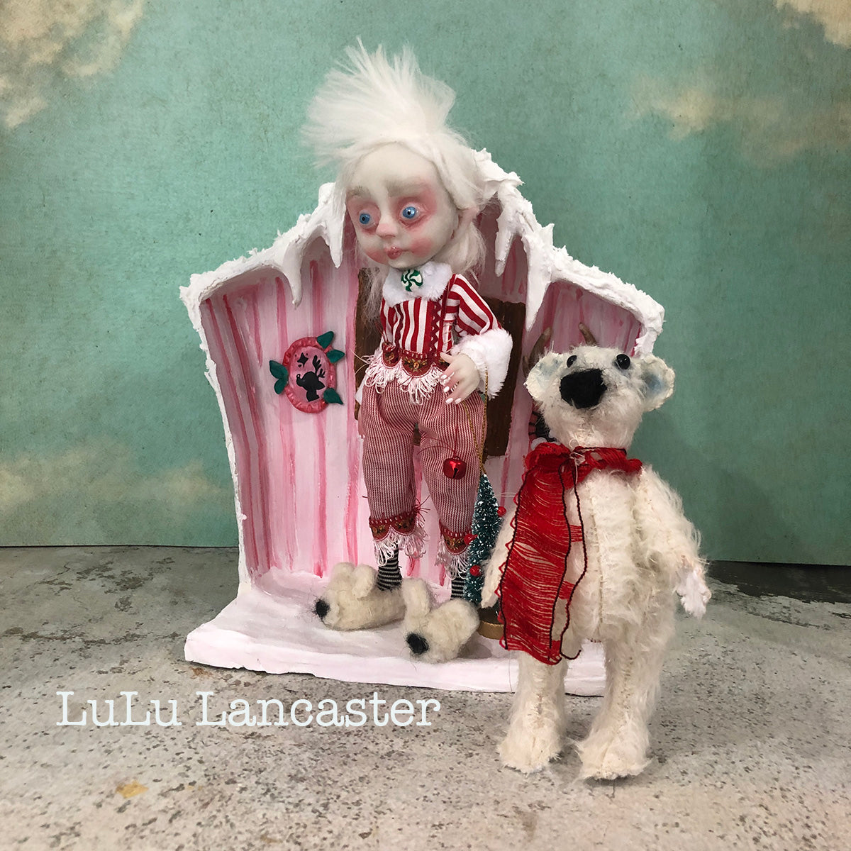 Crinkle Cookie the elf and mohair polar bear Art doll OOAK LuLu Lancaster