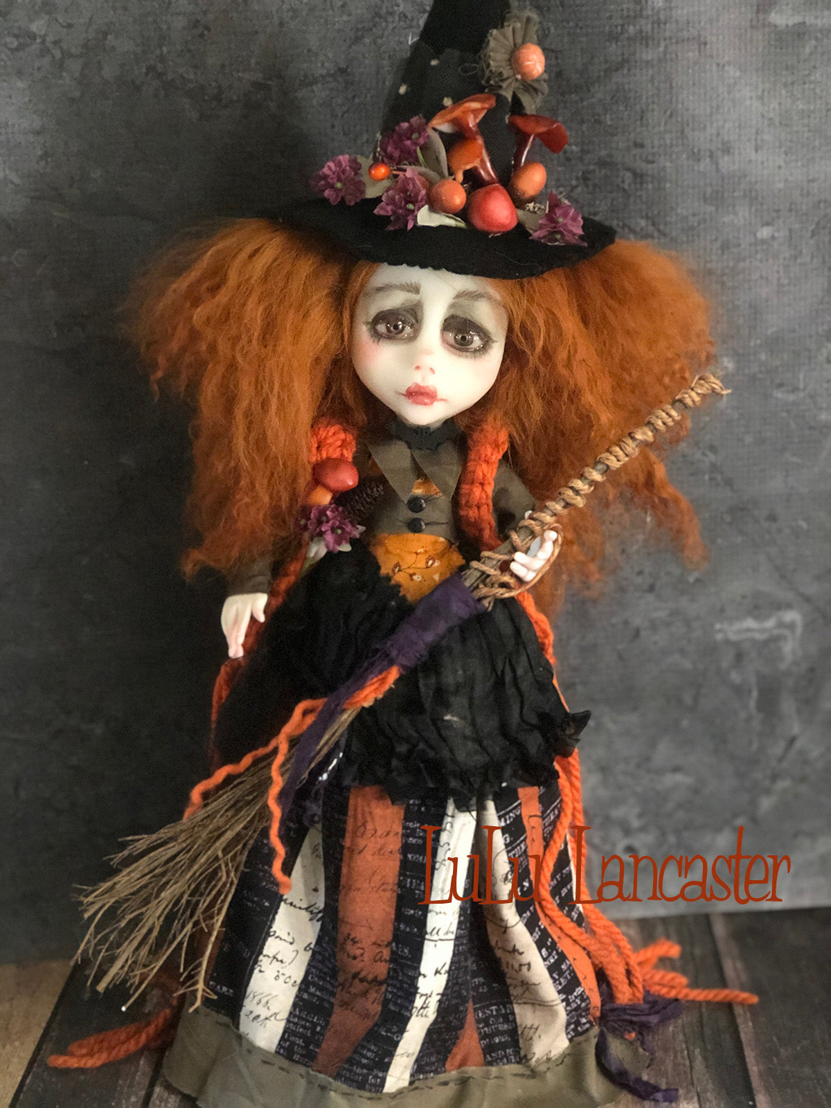 Crisanta the Witch Halloween Autumn One of a Kind Art Doll by LuLu Lancaster