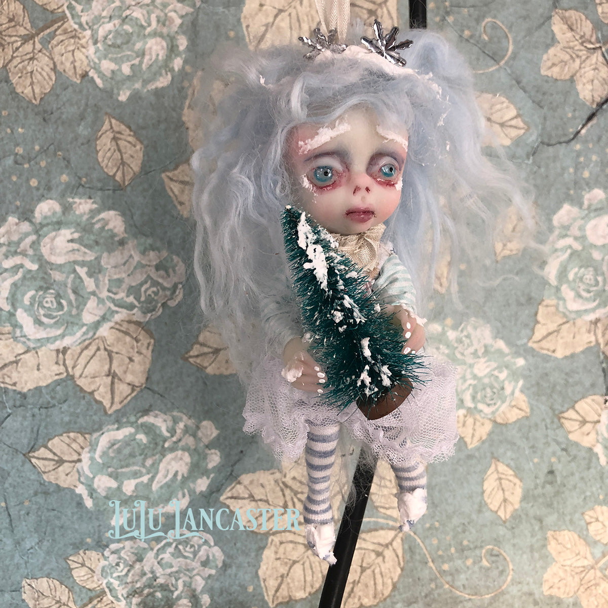 Crispin Mini hanging Frostie Ornament OOAK Art Doll LuLu Lancaster