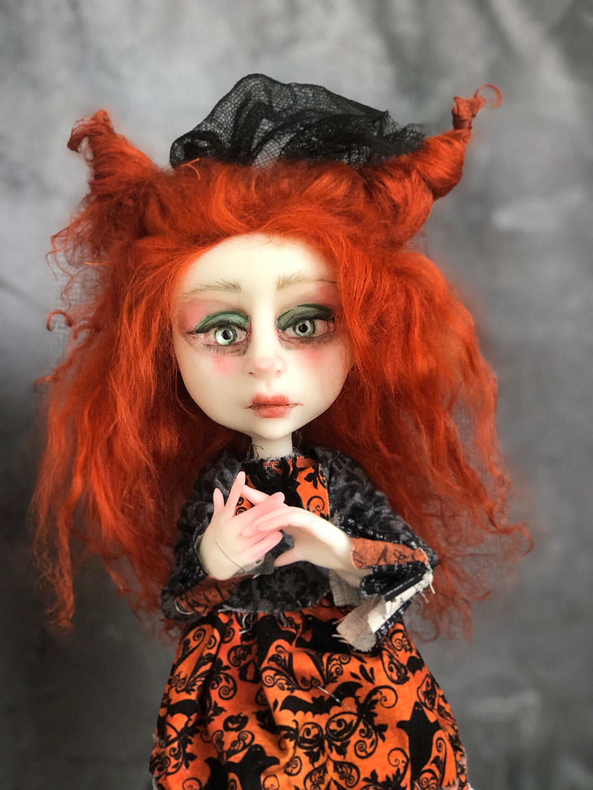 Davina and Damaris Witch OOAK Halloween Art Doll LuLu Lancaster