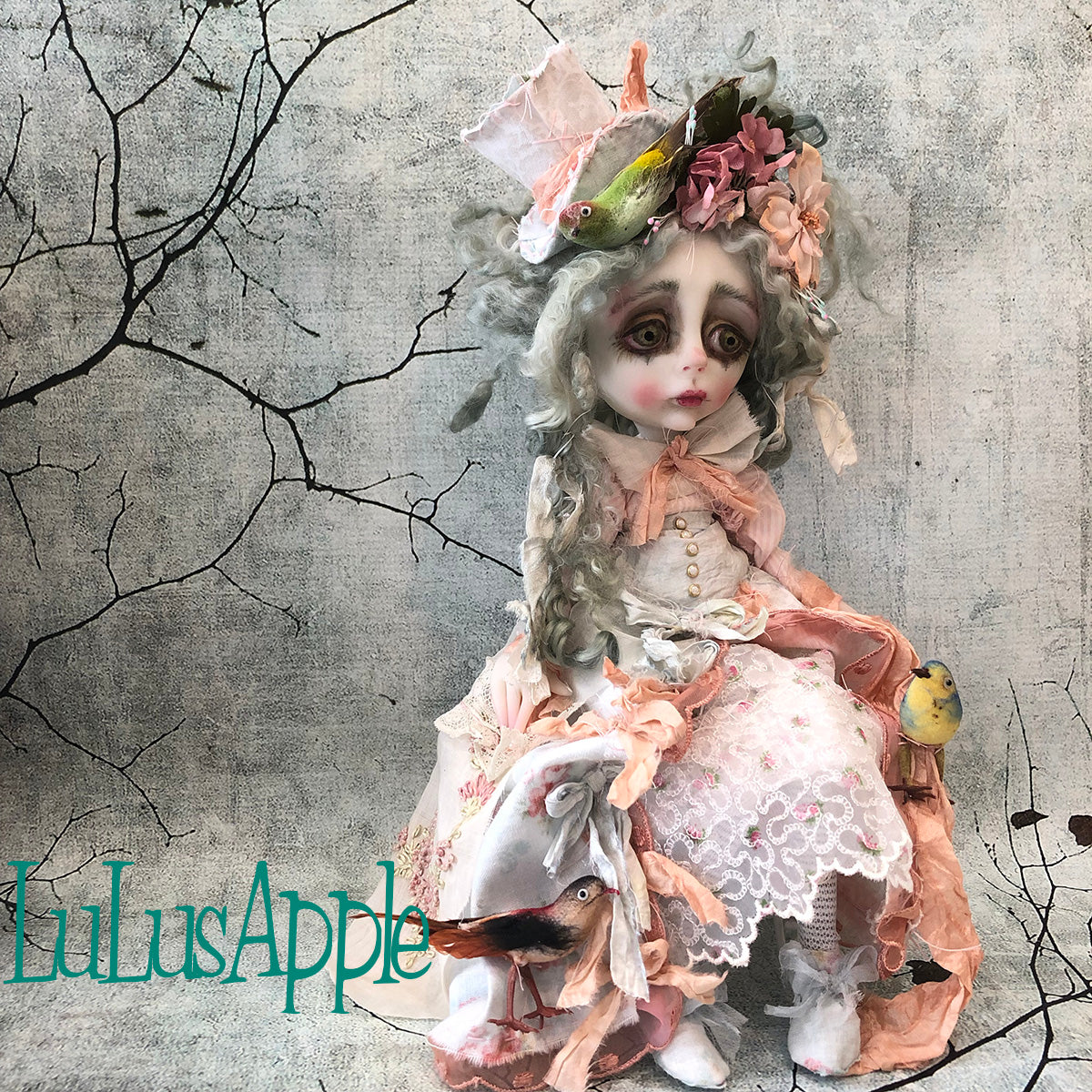 Dede Feed the birds Spring Rococo OOAK Art Doll LuLusApple