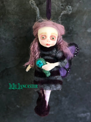 Fay the Purple Butterfly hanging OOAK Art Doll LuLu Lancaster