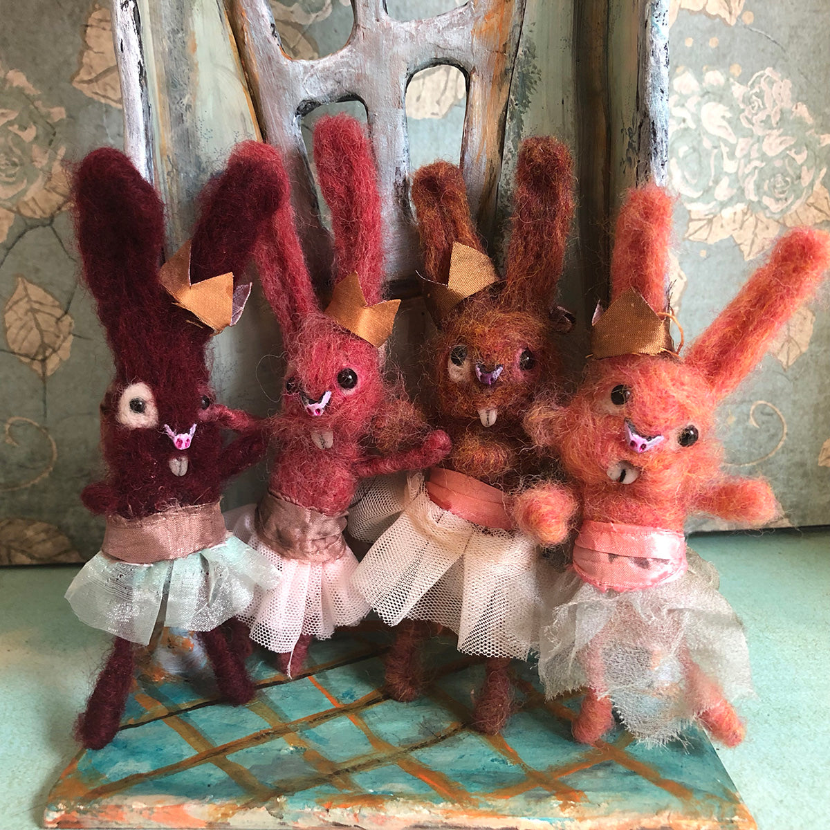 Ginger Flower Bunny Felted Hanging ornament OOAK LuLusApple Art Doll