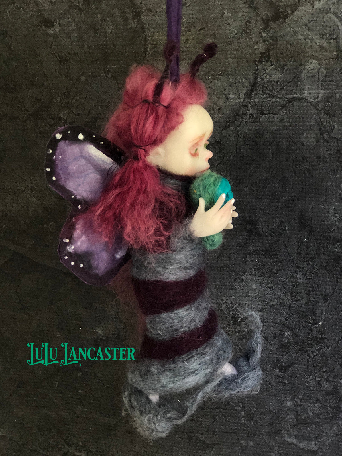 Flynn the Purple Butterfly hanging OOAK Art Doll LuLu Lancaster