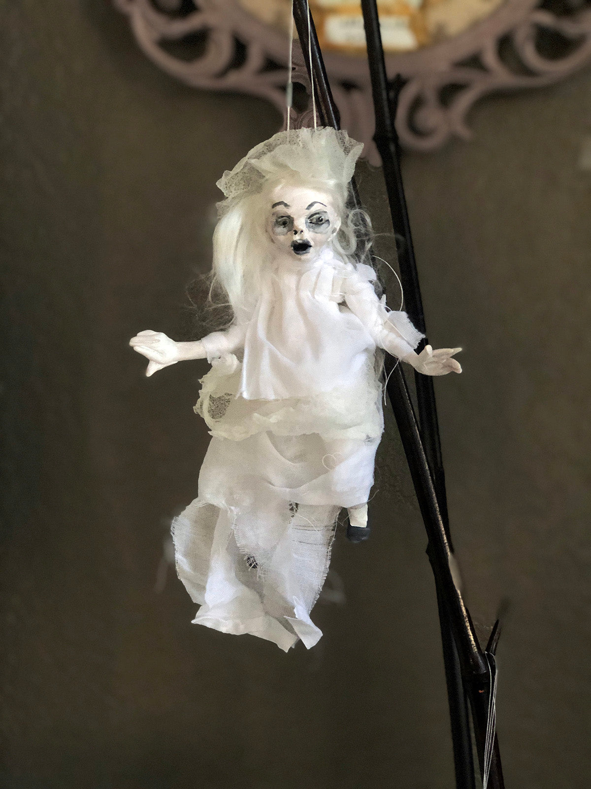 Mini Ghostie #4 Ornament Halloween Hanging OOAK LuLu Lancaster Art Doll