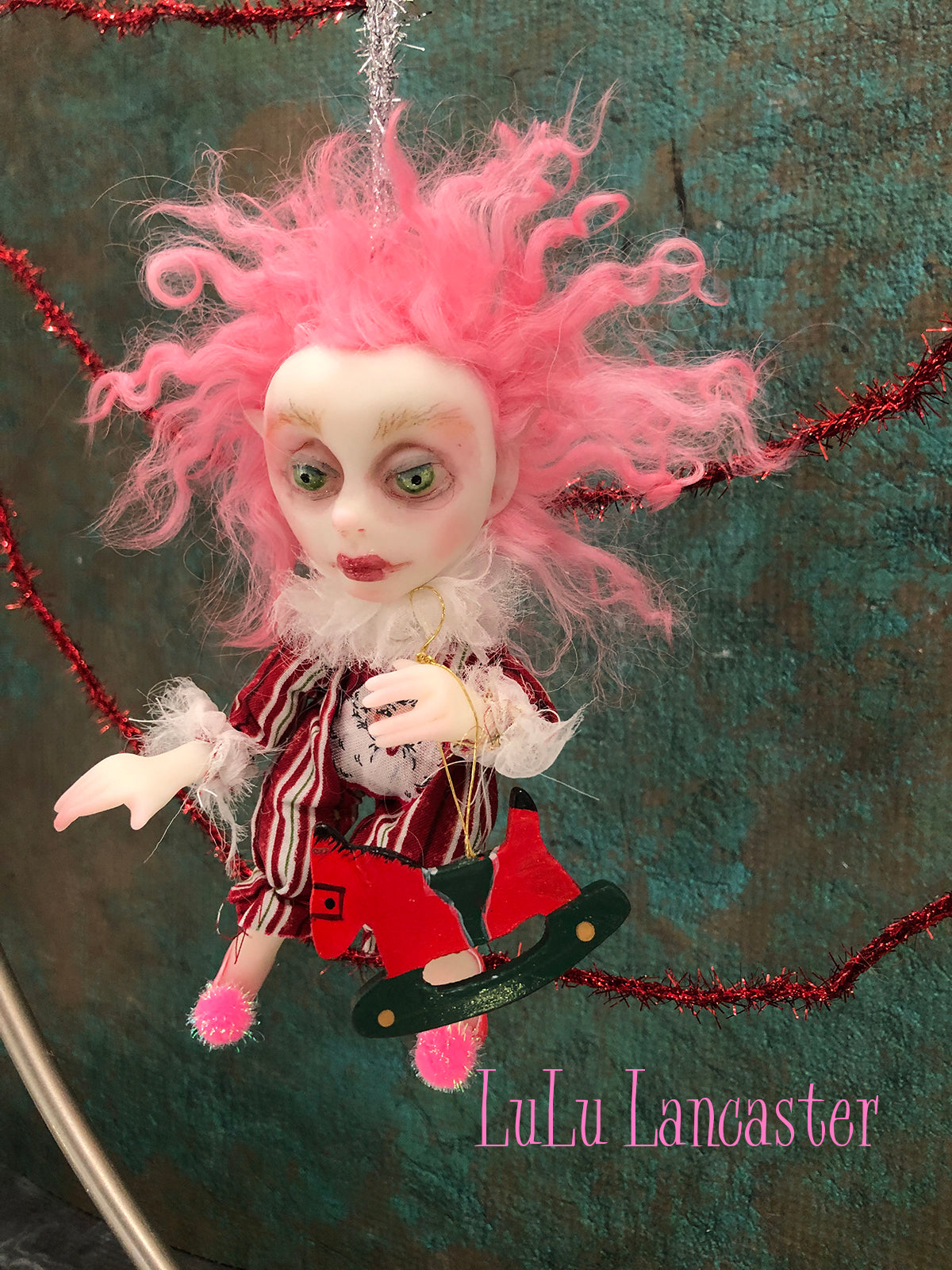 Glitzy Mini Hanging Elf Christmas Art Doll Ornament Original LuLu Lancaster