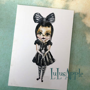 Bunny Goth Girl watercolor painting 5x7 original art