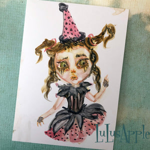 Clown Goth Girl watercolor painting 5x7 original art