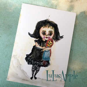 Raggedy Goth Girl watercolor painting 5x7 original art