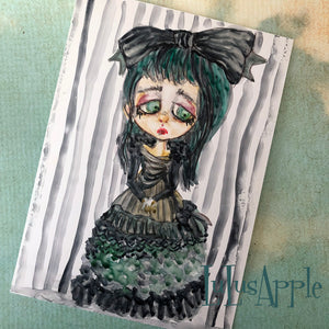 Victorian Goth Girl watercolor painting 5x7 original art