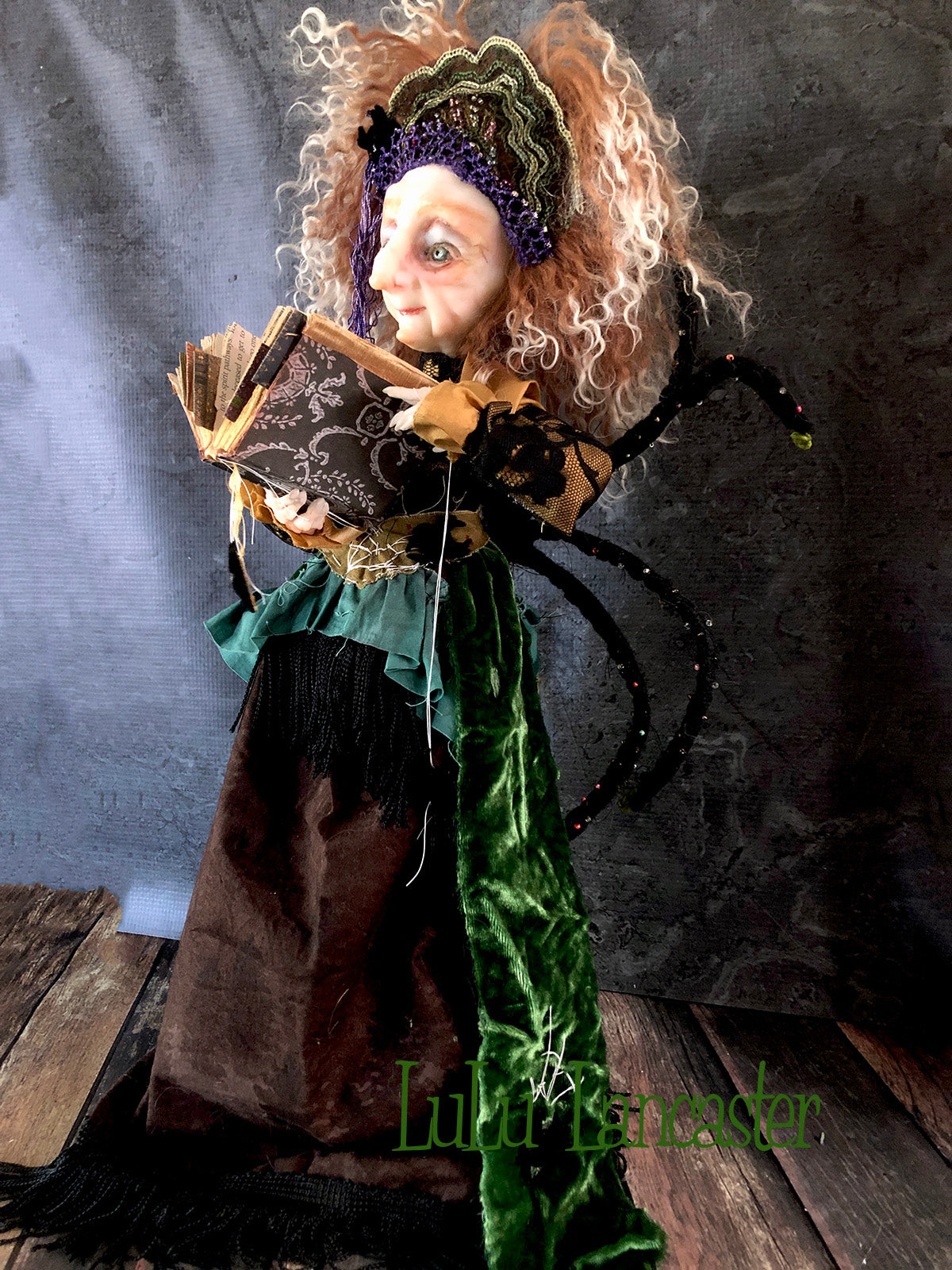 Granny Spindra the Arachnid Witch Original Art Doll by LuLu Lancaster