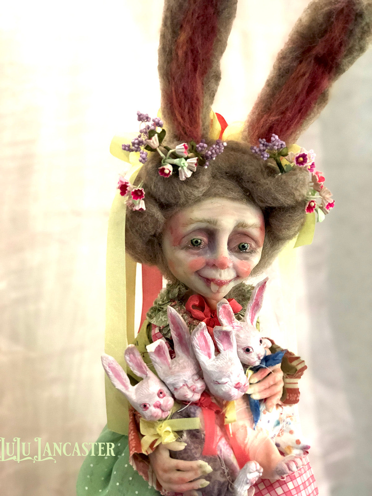Great Grannie Hare Springtime Rabbit OOAK Art Doll LuLu Lancaster