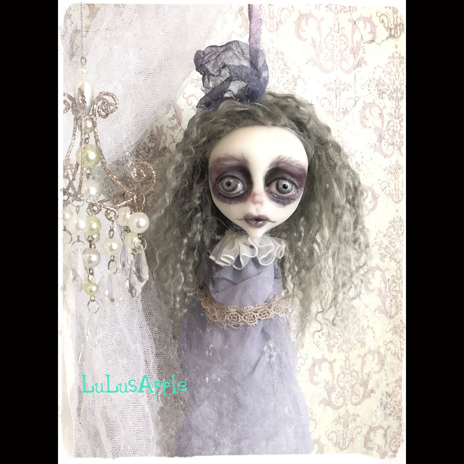Decapitated Grey Head Ghostly ornament OOAK LuLusApple Art Doll