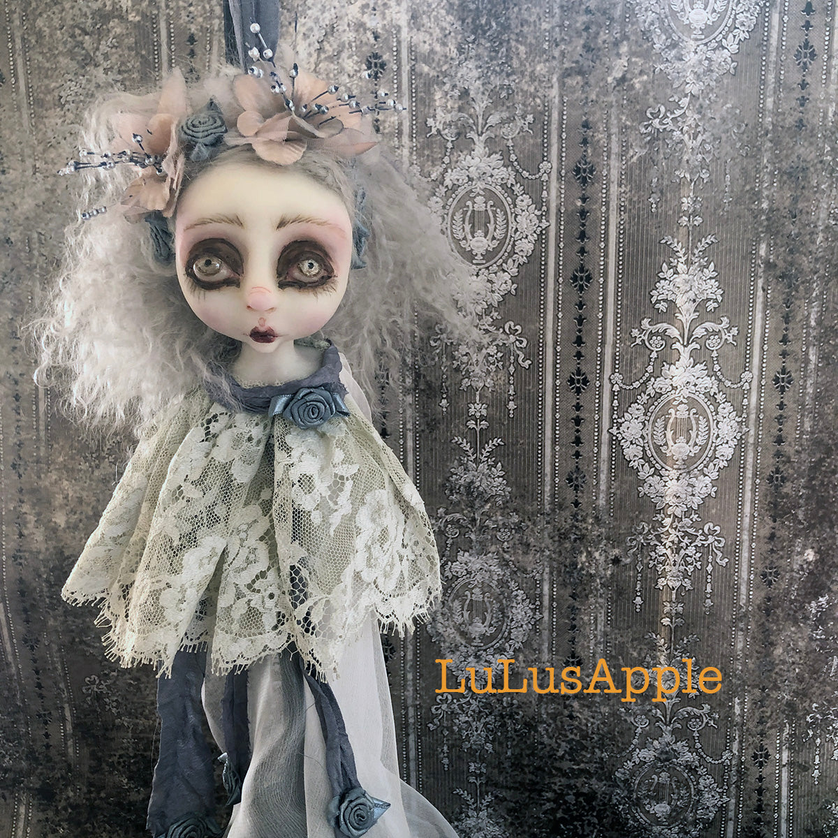 Mia the Decapitated Head Ghostly ornament OOAK LuLusApple Art Doll