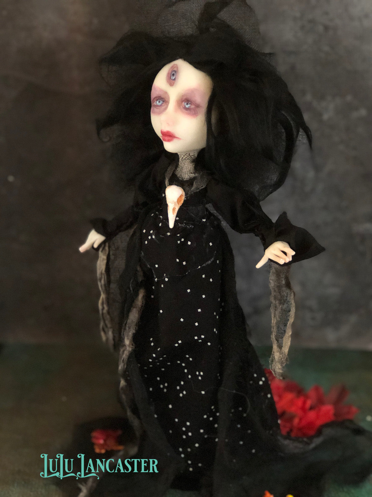 Heled the third eye Witch Halloween Original Art Doll by LuLu Lancaster