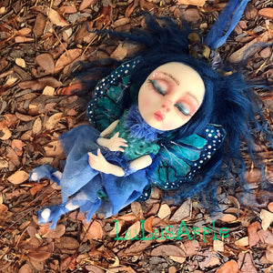 Indigo Mini hanging Butterfly sleeping kids OOAK Art Doll LuLusApple