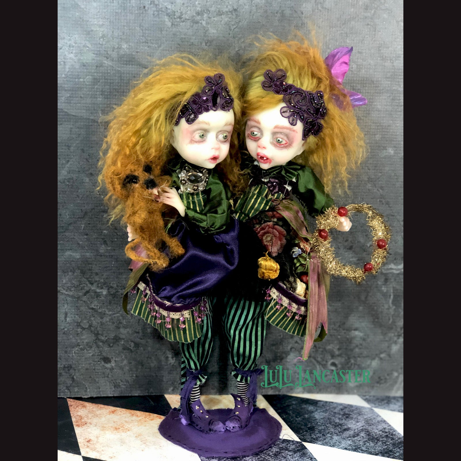 Jewel and Gem Conjoined Winter Christmas vampire twin OOAK Art Doll LuLu Lancaster