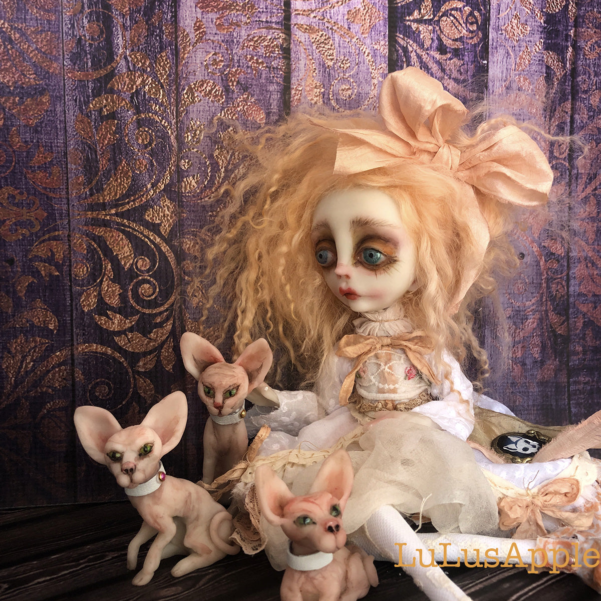 Juniper Bea and sphynx cats OOAK Art Doll LuLusApple