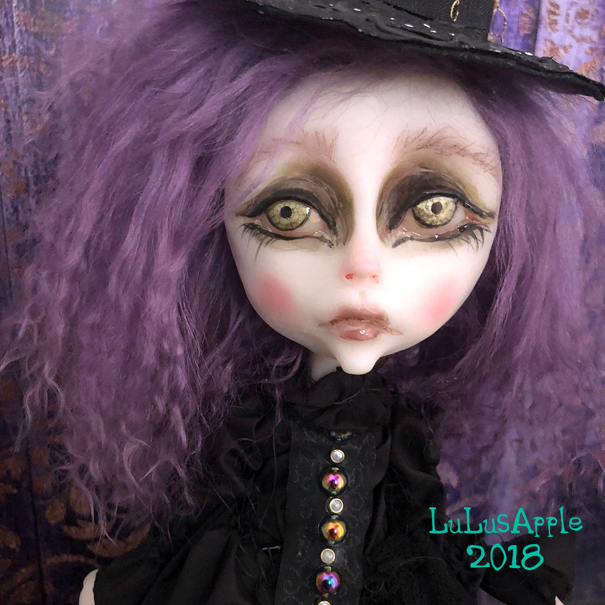Kallos and Black Unicorn Wickety Witch LuLusApple OOAK Art Doll