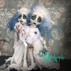 Kenley and Keeley Winter Vampire Brides Conjoined Gothic Twins OOAK Art Dolls LuLusApple