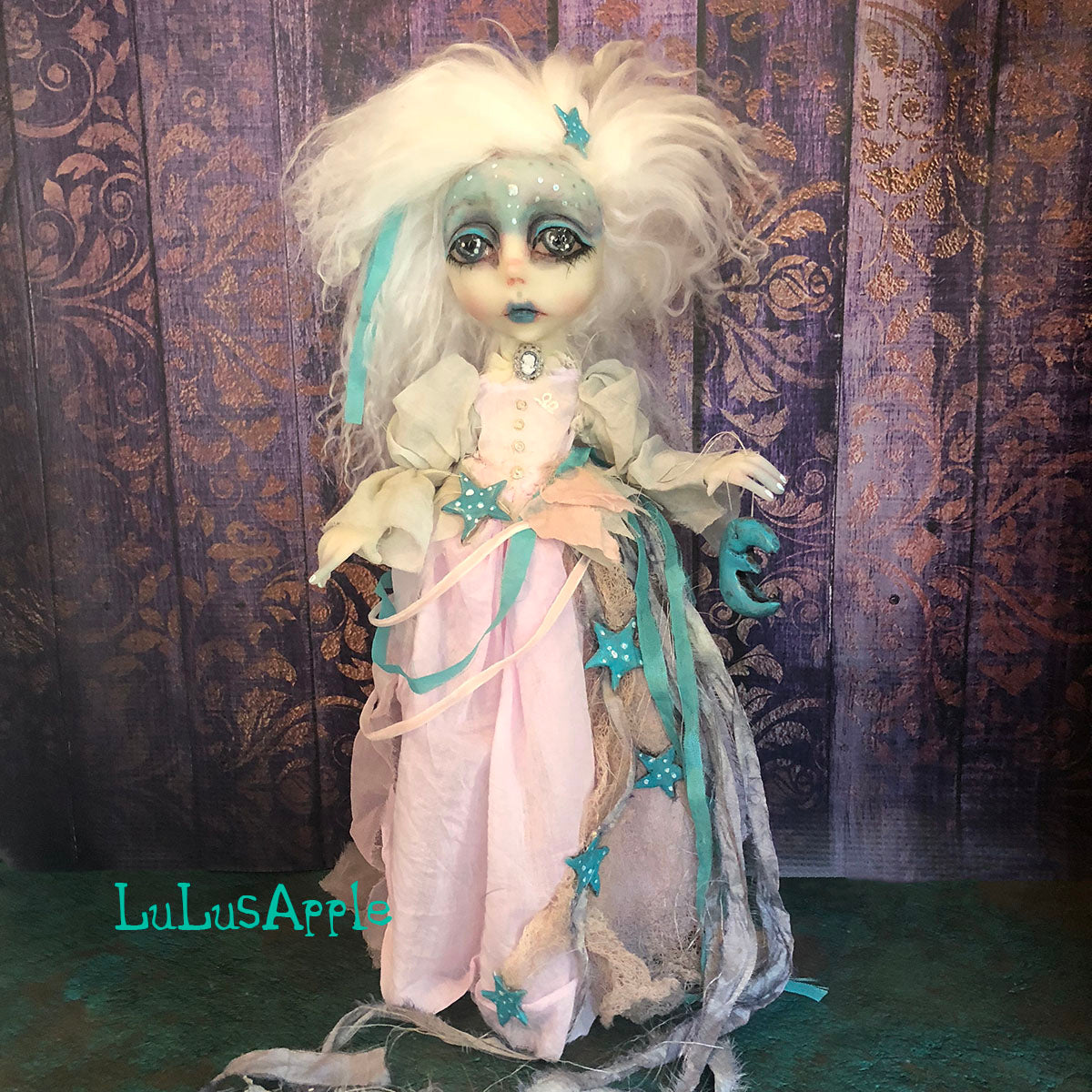 Lady Luna Gothic Victorian Ghostly Moon and Stars LuLusApple Art Doll
