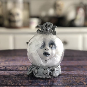 Ghostie Crystal Ball head OOAK Halloween Art Doll LuLu Lancaster