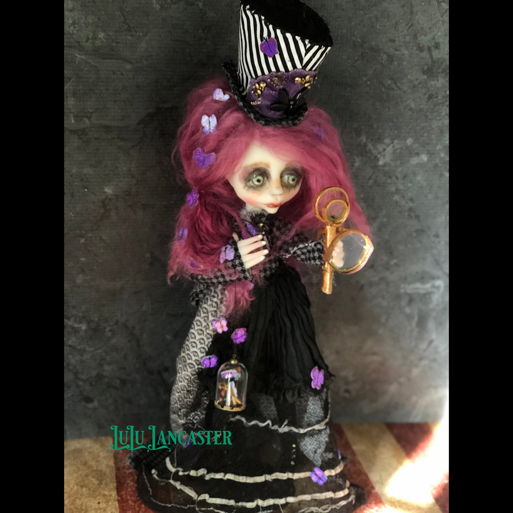 Lavender Constant the Butterfly collector OOAK Art Doll LuLu Lancaster