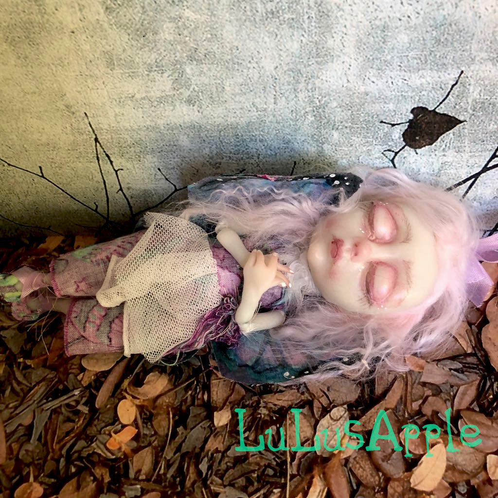 Lili Mini hanging Butterfly sleeping kids OOAK Art Doll LuLusApple