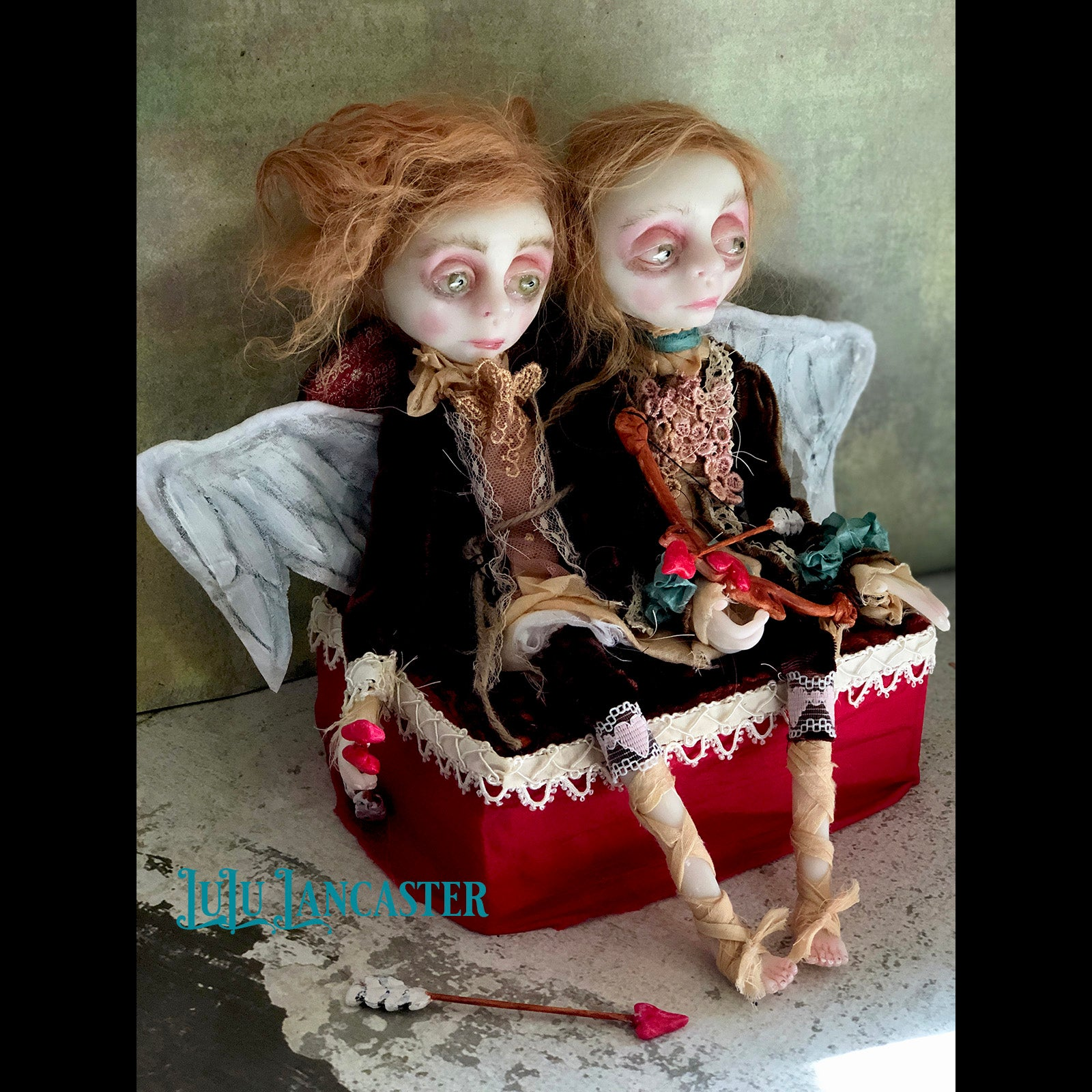 Louis and Lestat Rococo Cupid Conjoined twin OOAK Art Dolls LuLu Lancaster