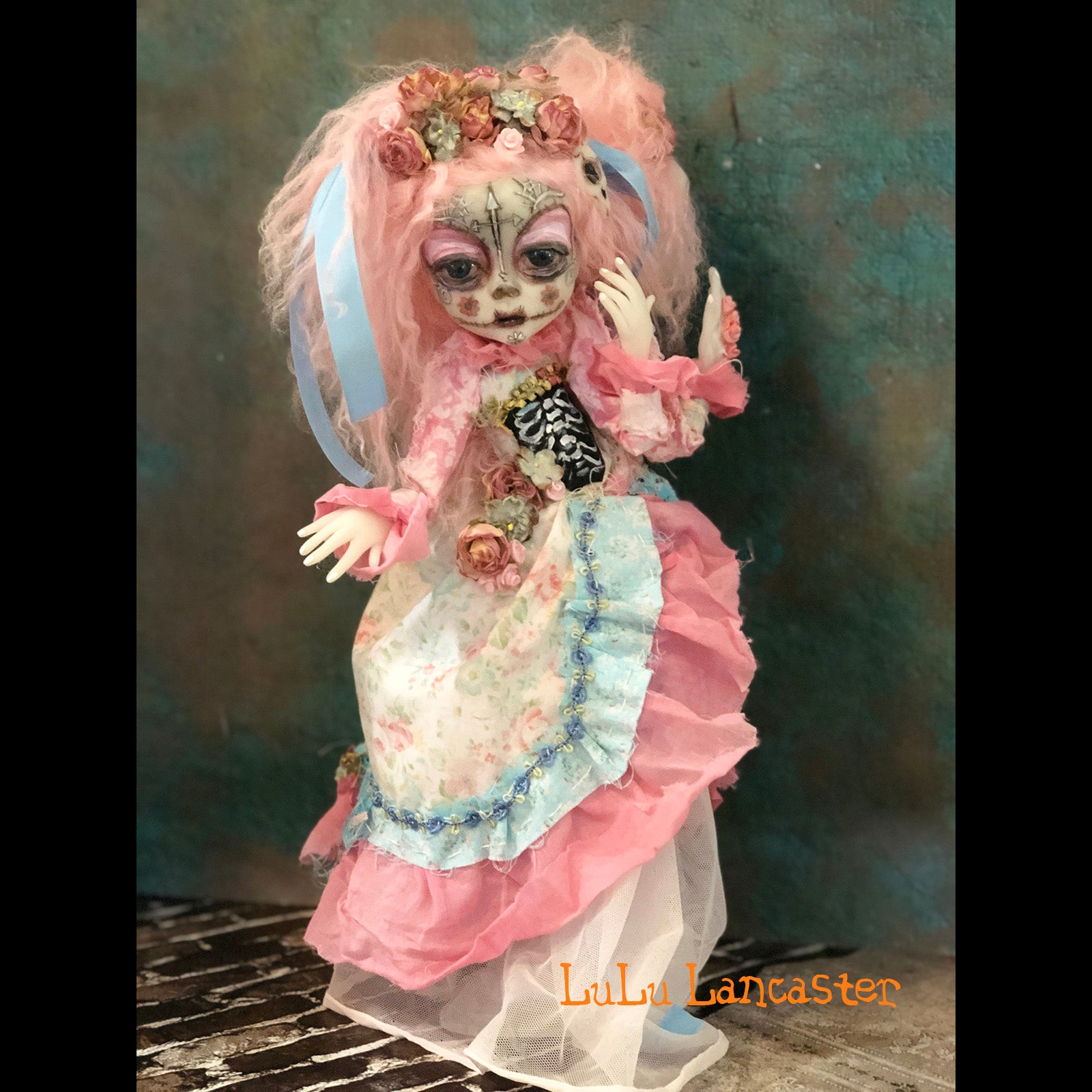 Luci and Ana Conjoined dia de los muertos twins OOAK Art Doll LuLu Lancaster