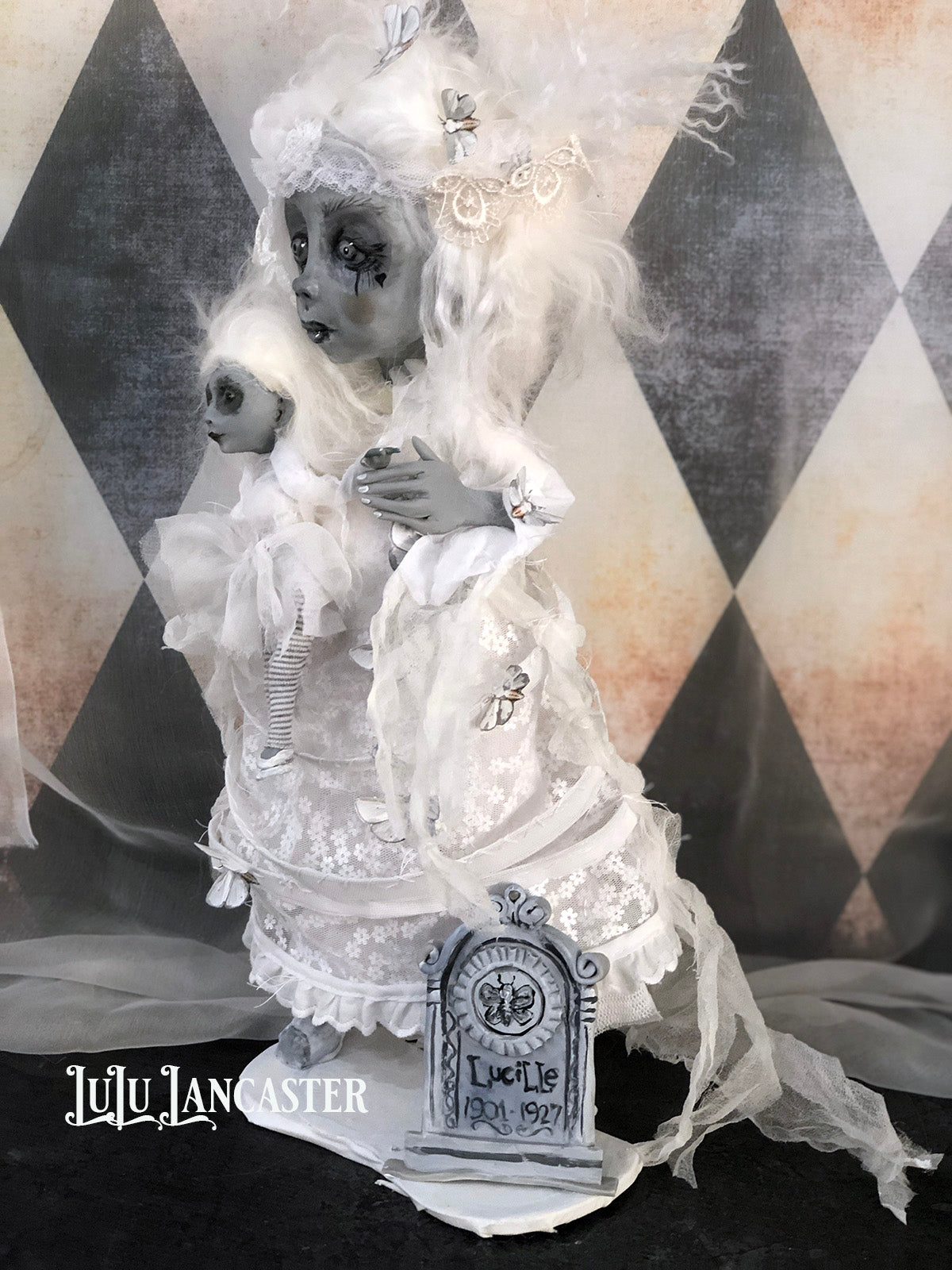 Lonely Lucille the Ghost OOAK original LuLu Lancaster Art Doll