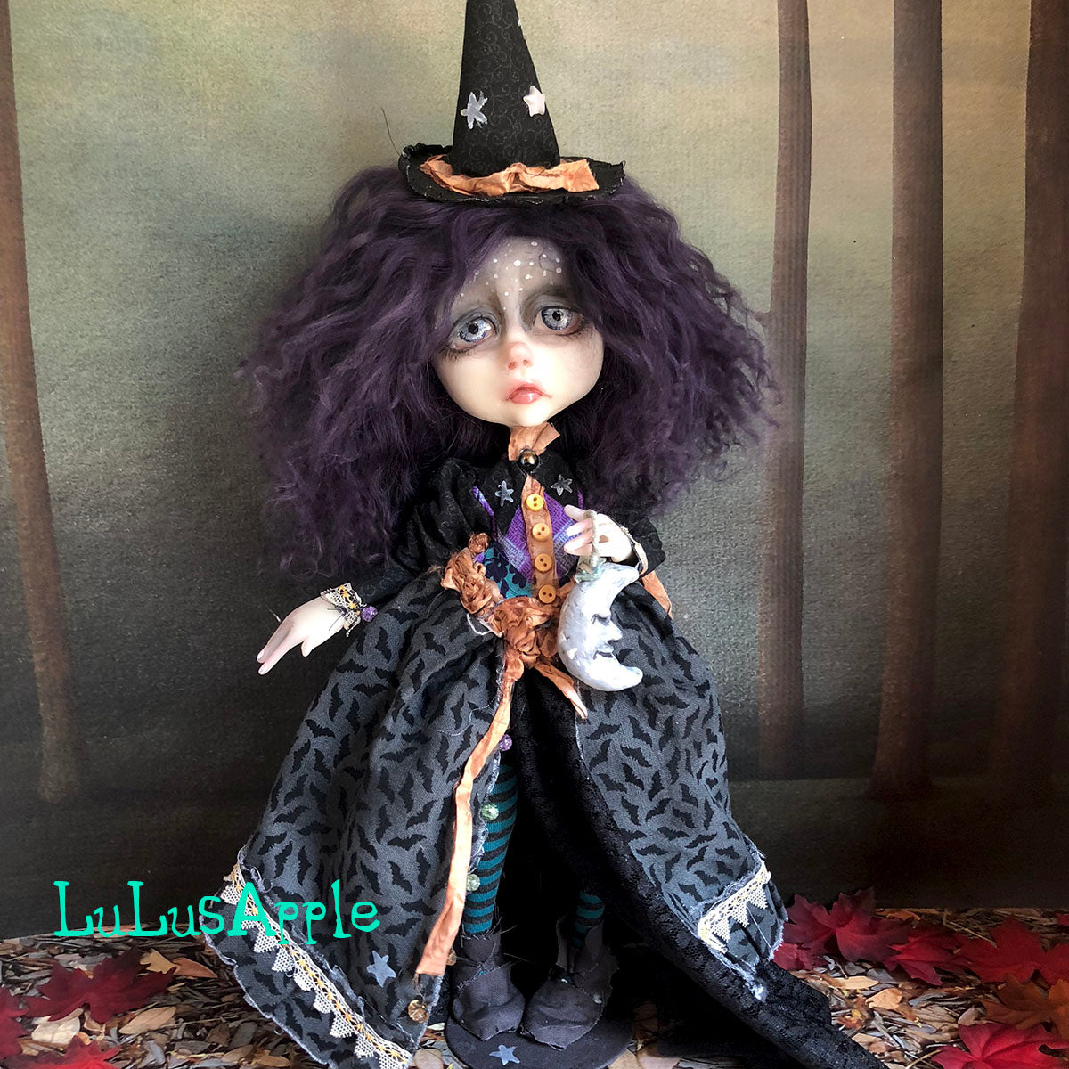 Lyra the Moon and the stars the Wickety Witch Halloween LuLusApple OOAK Art Doll