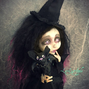 Mags MorMoop Coven of the Bat Wickety Witch LuLusApple OOAK Art Doll