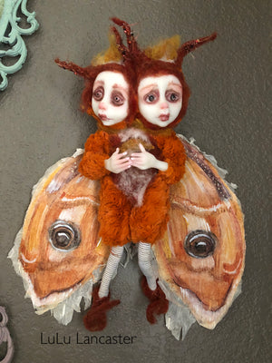 Maple and Mari conjoined Moth Twins Original Art Doll by LuLu Lancaster