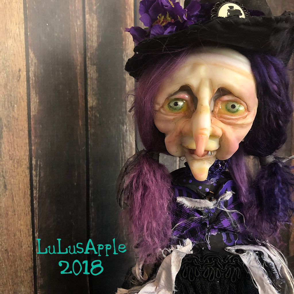 Margery Wickety Witch pedestal Bust OOAK LuLusApple Art Doll